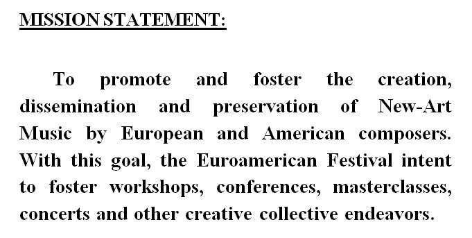 EUROAMERICAN MISSION STATEMENT
